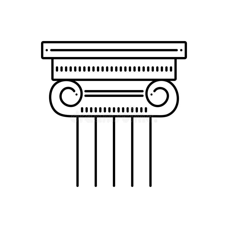 Μαύρο εικονίδιο γραμμών για το στυλοβάτη, το μουσείο και τον πόλο ελεύθερη απεικόνιση δικαιώματος