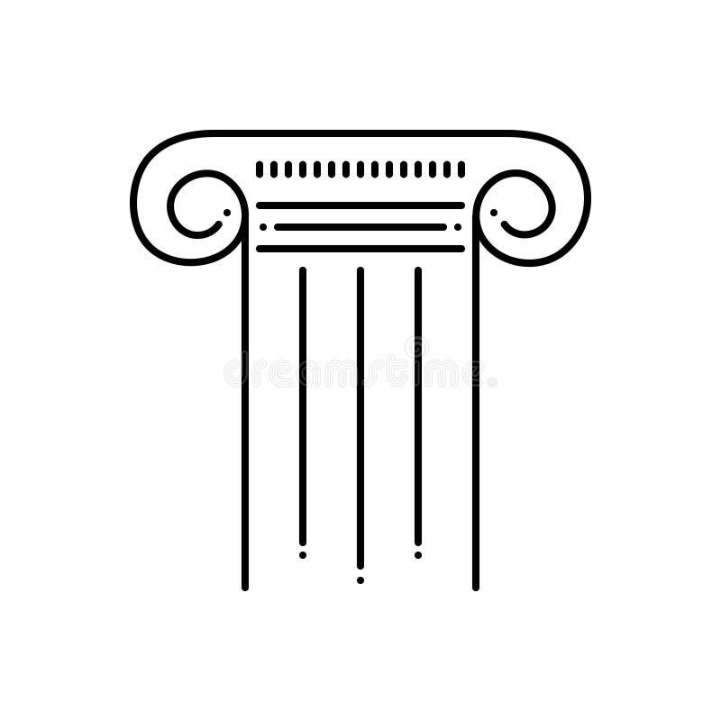 Μαύρο εικονίδιο γραμμών για το στυλοβάτη, τον πυλώνα και τη στήλη ελεύθερη απεικόνιση δικαιώματος