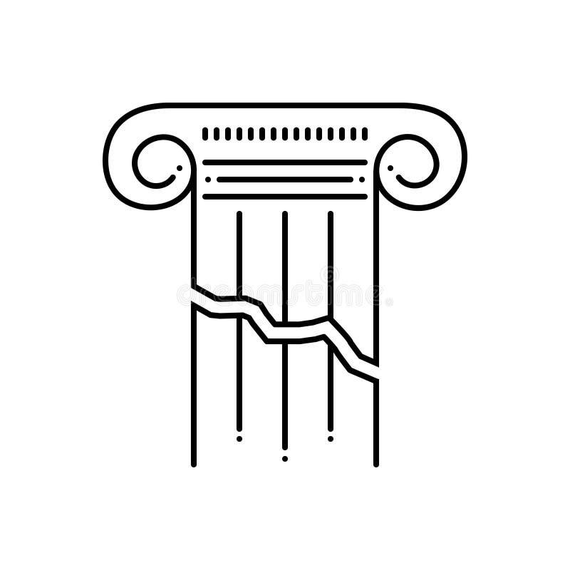 Μαύρο εικονίδιο γραμμών για το σπασμένο στυλοβάτη, τον πυλώνα και τη διάσπαση απεικόνιση αποθεμάτων