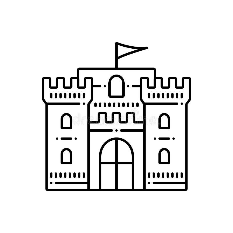 Μαύρο εικονίδιο γραμμών για το Castle, flanker και τη σημαία διανυσματική απεικόνιση