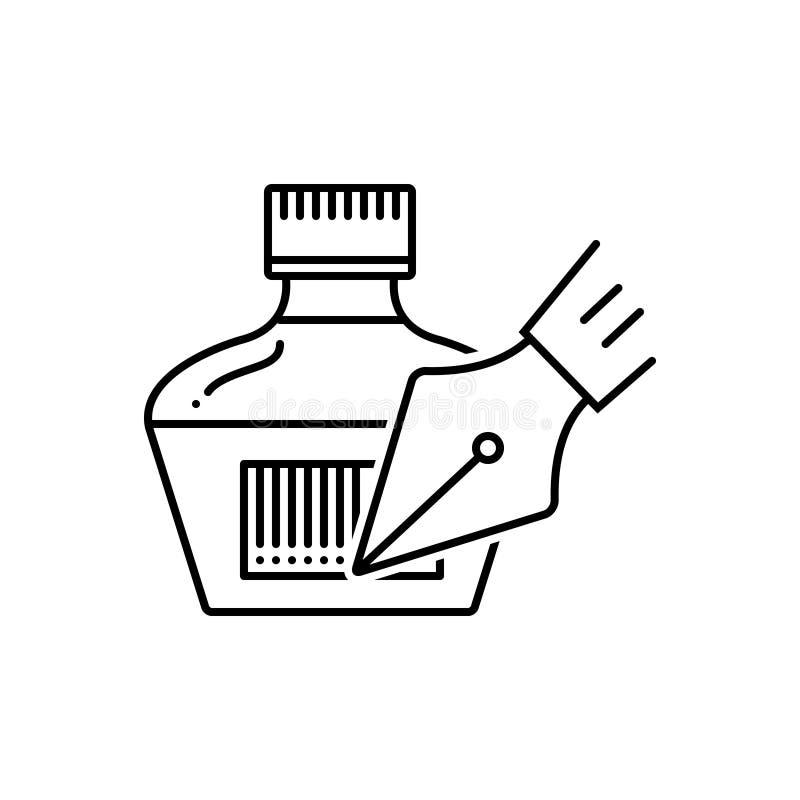 Μαύρο εικονίδιο γραμμών για Inkpot, stylus και τη μάνδρα ελεύθερη απεικόνιση δικαιώματος