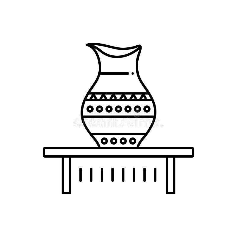 Μαύρο εικονίδιο γραμμών για Kalash, αρχαίος και ewer διανυσματική απεικόνιση
