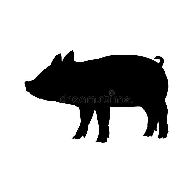 Μαύρο ζώο σκιαγραφιών αγροτικών θηλαστικών χοίρων μωρών Piggie διανυσματική απεικόνιση