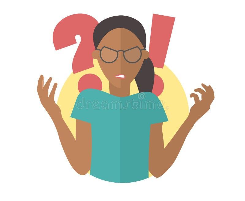 Μαύρο κορίτσι στα γυαλιά Γυναίκα στην οργή Επίπεδο εικονίδιο σχεδίου ελεύθερη απεικόνιση δικαιώματος