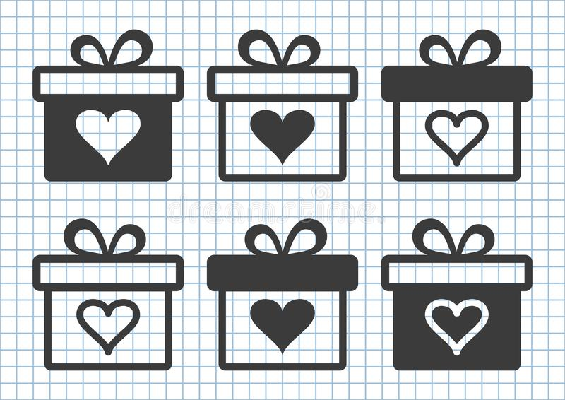 Μαύρο σύνολο κιβωτίων δώρων με την καρδιά επίσης corel σύρετε το διάνυσμα απεικόνισης απεικόνιση αποθεμάτων