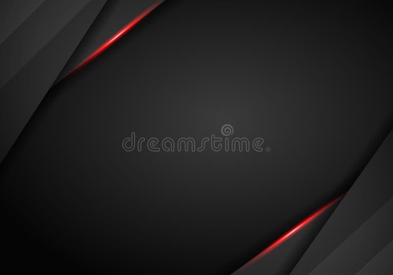 Μαύρο υπόβαθρο τεχνολογίας με τα κόκκινα λωρίδες αντίθεσης Αφηρημένο διανυσματικό γραφικό σχέδιο φυλλάδιων απεικόνιση αποθεμάτων