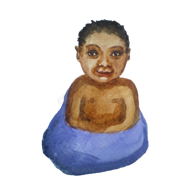 Μαύρο παιδί σε μια γενική, νεογέννητη, απεικόνιση watercolor στο άσπρο υπόβαθρο ελεύθερη απεικόνιση δικαιώματος