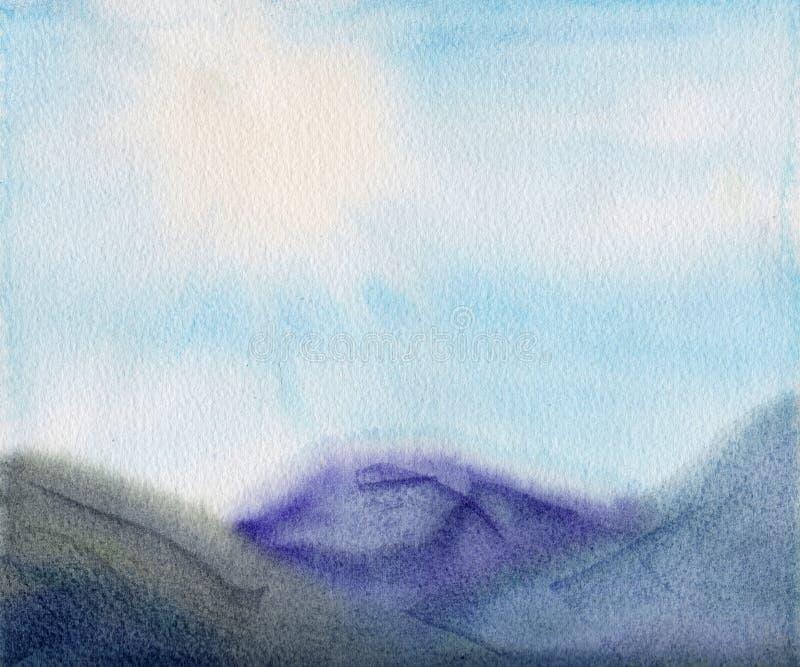 μεγάλα βουνά βουνών τοπίων η διακοσμητική εικόνα απεικόνισης πετάγματος ραμφών το κομμάτι εγγράφου της καταπίνει το watercolor στοκ φωτογραφίες με δικαίωμα ελεύθερης χρήσης