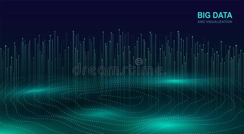 Μεγάλη απεικόνιση στοιχείων Φουτουριστικό κοσμικό σχέδιο της ροής στοιχείων Αφηρημένο ψηφιακό υπόβαθρο με τα ρέοντας μόρια fracta ελεύθερη απεικόνιση δικαιώματος