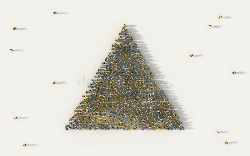 Μεγάλη ομάδα ανθρώπων που διαμορφώνει ένα εικονίδιο γεωμετρίας τριγώνων στα κοινωνικά μέσα και την κοινοτική έννοια στο άσπρο υπό απεικόνιση αποθεμάτων