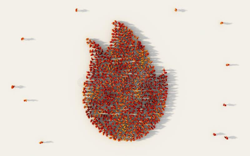 Μεγάλη ομάδα ανθρώπων που διαμορφώνει το σύμβολο πυρκαγιάς στα κοινωνικά μέσα και την κοινοτική έννοια στο άσπρο υπόβαθρο τρισδιά απεικόνιση αποθεμάτων