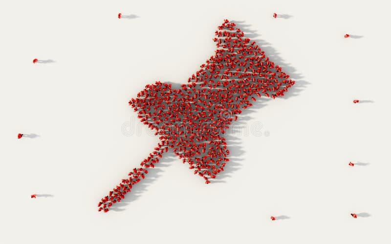 Μεγάλη ομάδα ανθρώπων που διαμορφώνουν ένα κόκκινο σύμβολο pushpin ή πινεζών στα κοινωνικά μέσα και κοινοτική έννοια στο άσπρο υπ απεικόνιση αποθεμάτων