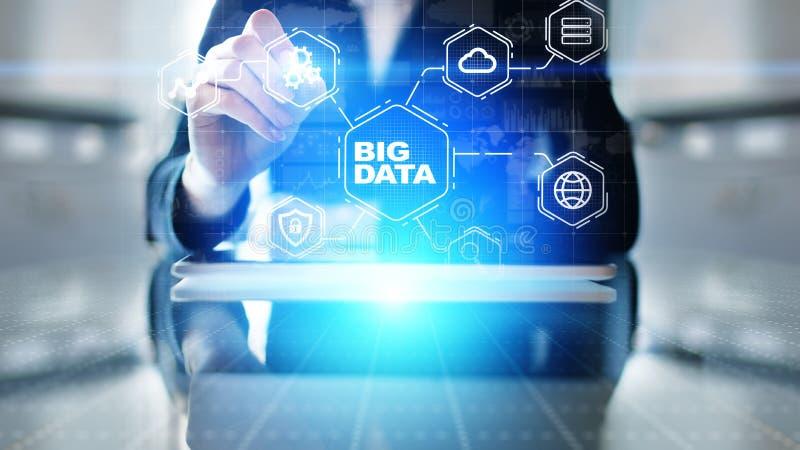 Μεγάλη πλατφόρμα analytics στοιχείων, επιχειρηματική κατασκοπεία και σύγχρονη έννοια τεχνολογίας στη vitual οθόνη διανυσματική απεικόνιση
