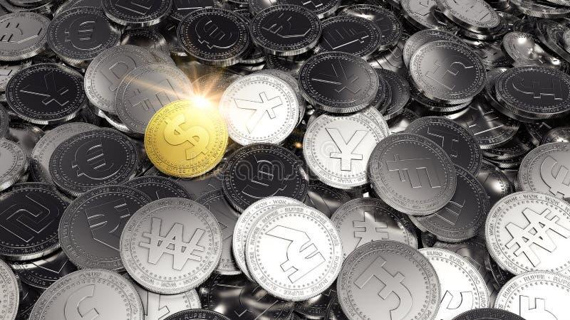 Μεγάλος σωρός των διαφορετικών νομισμάτων με ένα νόμισμα δολαρίων ως μόνο χρυσό νόμισμα τρισδιάστατη απόδοση ελεύθερη απεικόνιση δικαιώματος