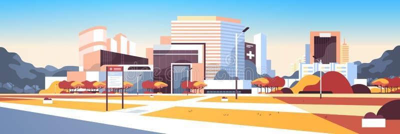 Μεγάλο νοσοκομείο που χτίζει τη σύγχρονη ιατρική κλινική εξωτερική με το υπόβαθρο εικονικής παράστασης πόλης δέντρων πινάκων πληρ απεικόνιση αποθεμάτων
