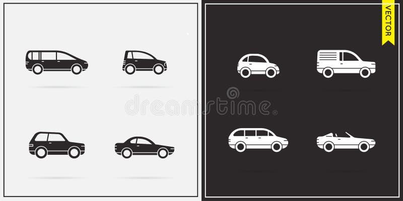 Μεγάλο σύνολο διανυσματικών εικονιδίων αυτοκινήτων ελεύθερη απεικόνιση δικαιώματος