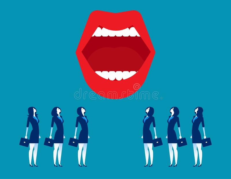 μεγάλο στόμα Επιχειρηματίες και στόμα Επιχειρησιακή διανυσματική απεικόνιση έννοιας ελεύθερη απεικόνιση δικαιώματος