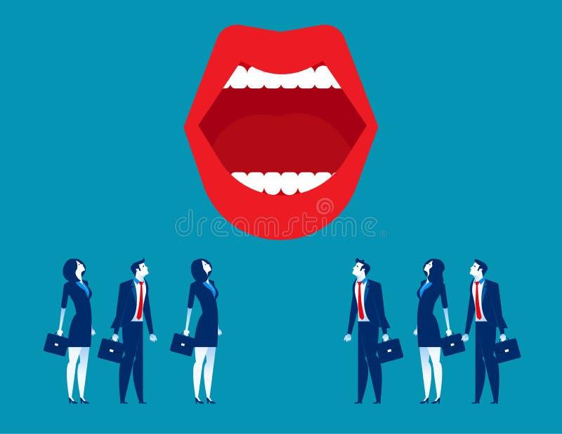 μεγάλο στόμα Επιχειρηματίες και στόμα Επιχειρησιακή διανυσματική απεικόνιση έννοιας απεικόνιση αποθεμάτων