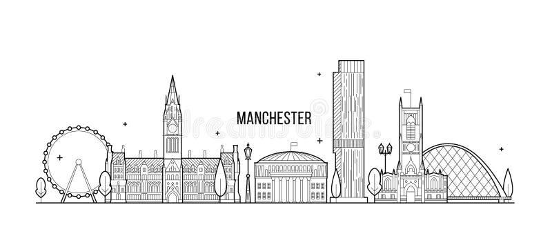 Μεγαλύτερη Αγγλία UK διανυσματική γραμμή οριζόντων του Μάντσεστερ διανυσματική απεικόνιση