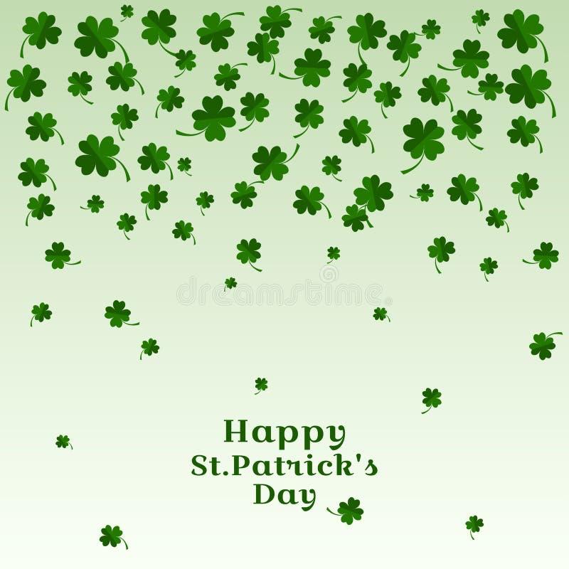 Μειωμένα φύλλα του τριφυλλιού με την ευτυχή ημέρα του ST Patricks επιγραφής επίσης corel σύρετε το διάνυσμα απεικόνισης ελεύθερη απεικόνιση δικαιώματος