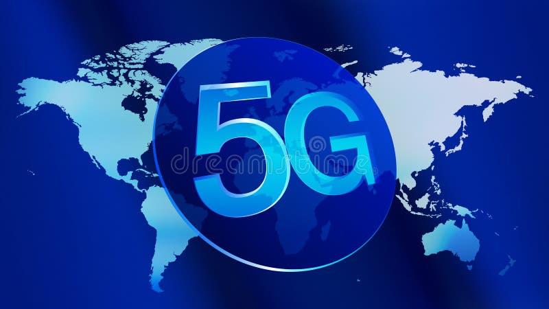 Μελλοντική σφαιρική κινητή τεχνολογία βιομηχανίας 5G διανυσματική απεικόνιση