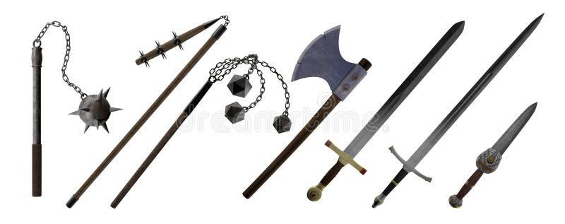 Μεσαιωνικά όπλα χεριών, τσεκούρι, ξίφος, στιλέτο, αστέρι πρωινού απεικόνιση αποθεμάτων