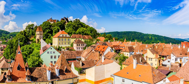 Μεσαιωνική παλαιά πόλη Sighisoara στη κομητεία Mures, Τρανσυλβανία, Ρουμανία στοκ φωτογραφία με δικαίωμα ελεύθερης χρήσης