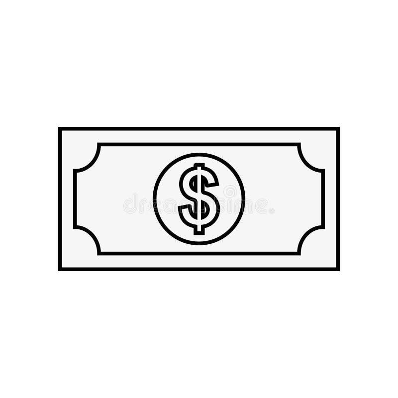 Μετρητά τραπεζογραμματίων δολαρίων χρημάτων που απομονώνονται διανυσματική απεικόνιση