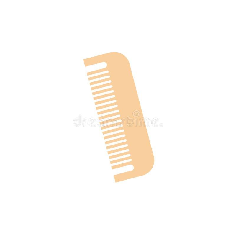 Μηά ξύλινη χτένα ή βούρτσα γηα τα μαλλιά μπαμπού eco αποβλήτων σε ένα επίπεδο ύφος ελεύθερη απεικόνιση δικαιώματος