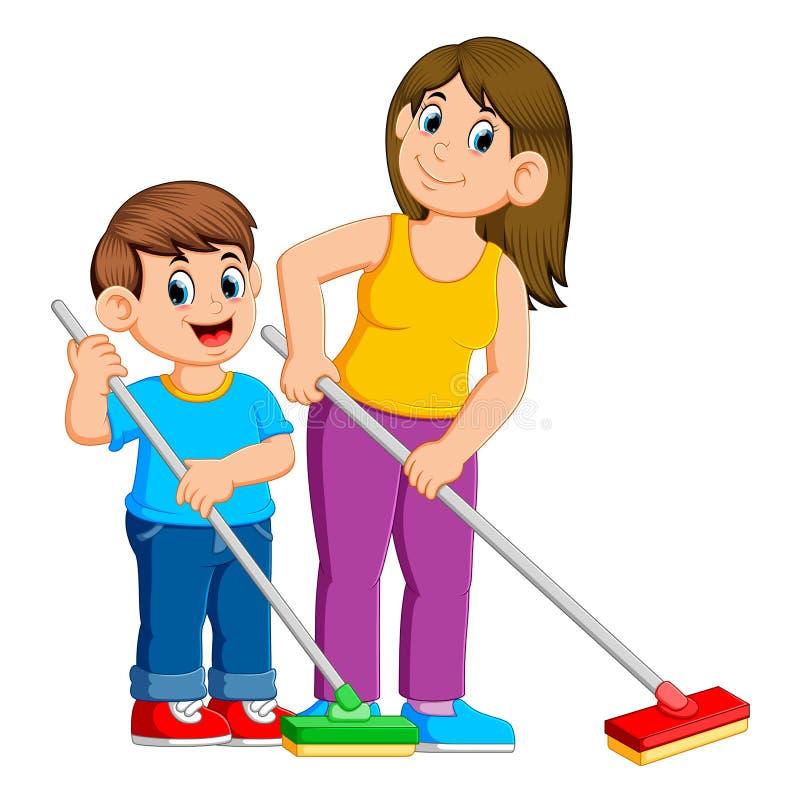 Μητέρα και γιος που καθαρίζουν το πάτωμα ελεύθερη απεικόνιση δικαιώματος