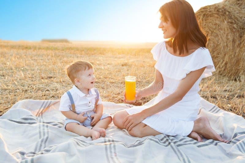Μητέρα και ο γιος της στις διακοπές σε ένα πικ-νίκ στοκ φωτογραφία
