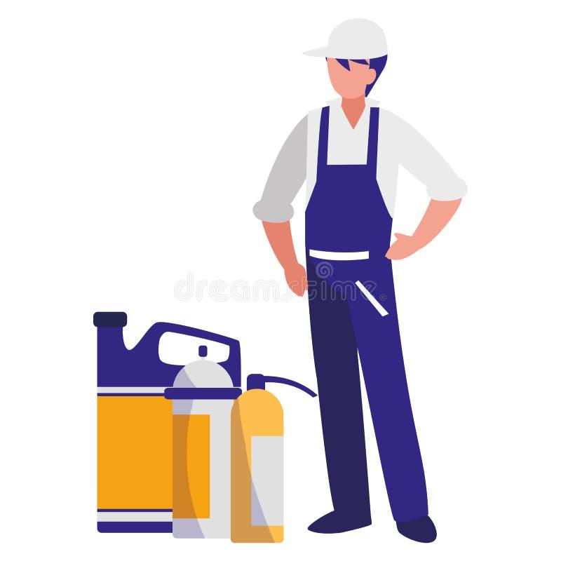Μηχανικός εργαζόμενος με την πυρκαγιά πυροσβεστήρων και το γαλόνι πετρελαίου ελεύθερη απεικόνιση δικαιώματος