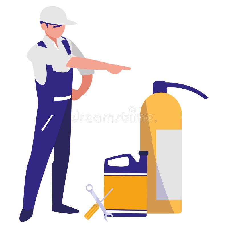 Μηχανικός εργαζόμενος με την πυρκαγιά πυροσβεστήρων και το γαλόνι πετρελαίου απεικόνιση αποθεμάτων