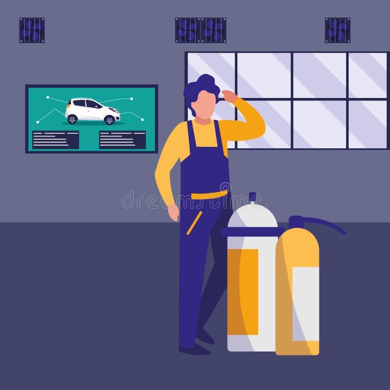 Μηχανικός εργαζόμενος με την πυρκαγιά πυροσβεστήρων ελεύθερη απεικόνιση δικαιώματος