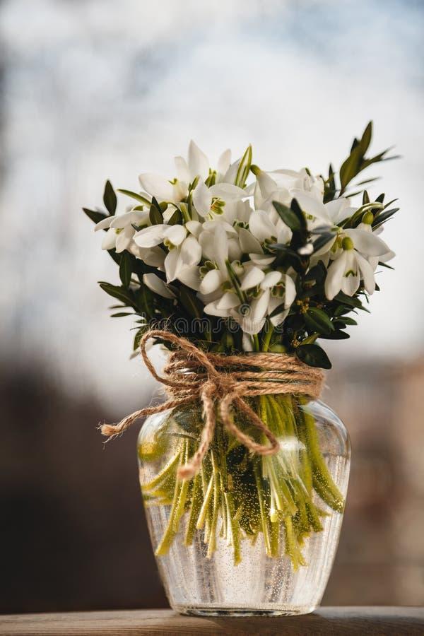Μια ανθοδέσμη των μικρών φρέσκων snowdrops σε ένα βάζο γυαλιού υπαίθρια Δέσμη των λουλουδιών Nivalis Galanthus στοκ φωτογραφίες με δικαίωμα ελεύθερης χρήσης