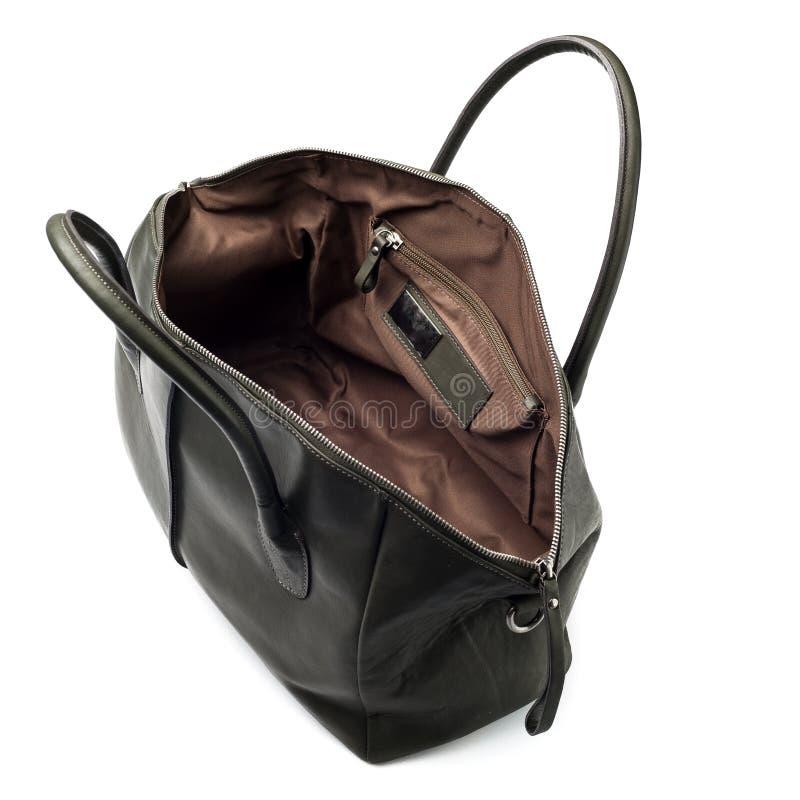 Μια ανοικτή μαύρη τσάντα leathe που απομονώνεται στοκ εικόνες με δικαίωμα ελεύθερης χρήσης