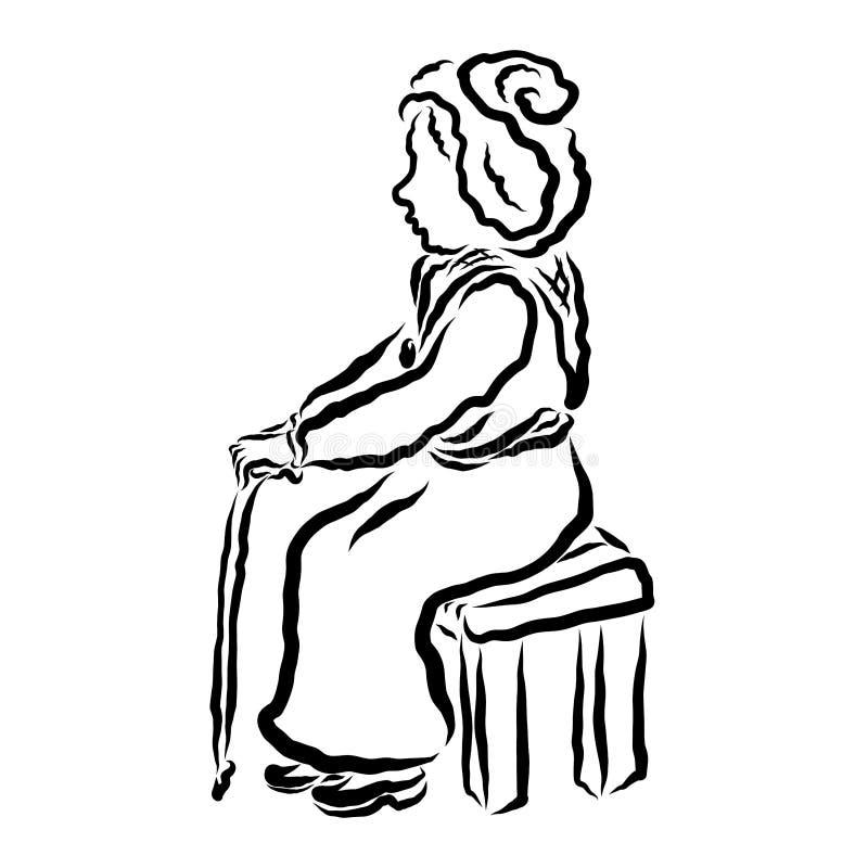 Μια ηλικιωμένη γυναίκα κάθεται σε έναν πάγκο ή μια καρέκλα με έναν κάλαμο στα χέρια της απεικόνιση αποθεμάτων