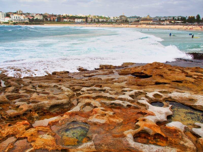 Μικρές λίμνες βράχου στο φτιάχνω κρατήρα ψαμμίτη, παραλία Bondi, Αυστραλία στοκ εικόνες