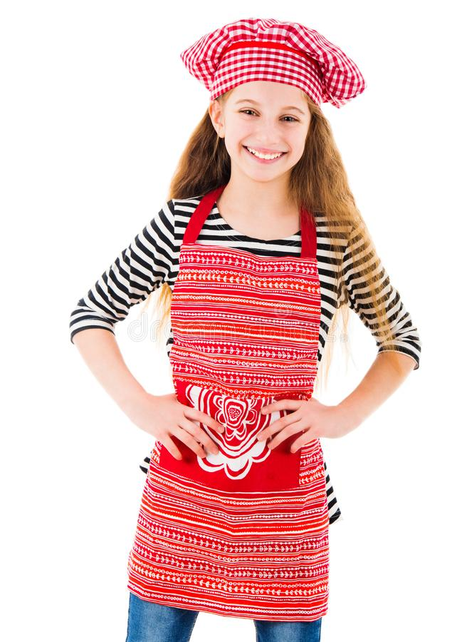 Μικρό κορίτσι στα κόκκινα ομοιόμορφα χαμόγελα αρχιμαγείρων στοκ φωτογραφίες