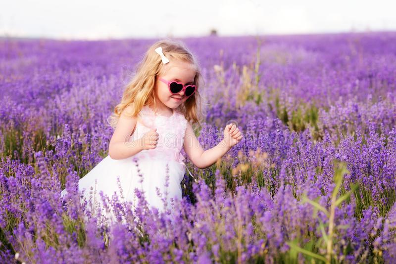 Μικρό κορίτσι lavender στον τομέα στοκ φωτογραφία με δικαίωμα ελεύθερης χρήσης