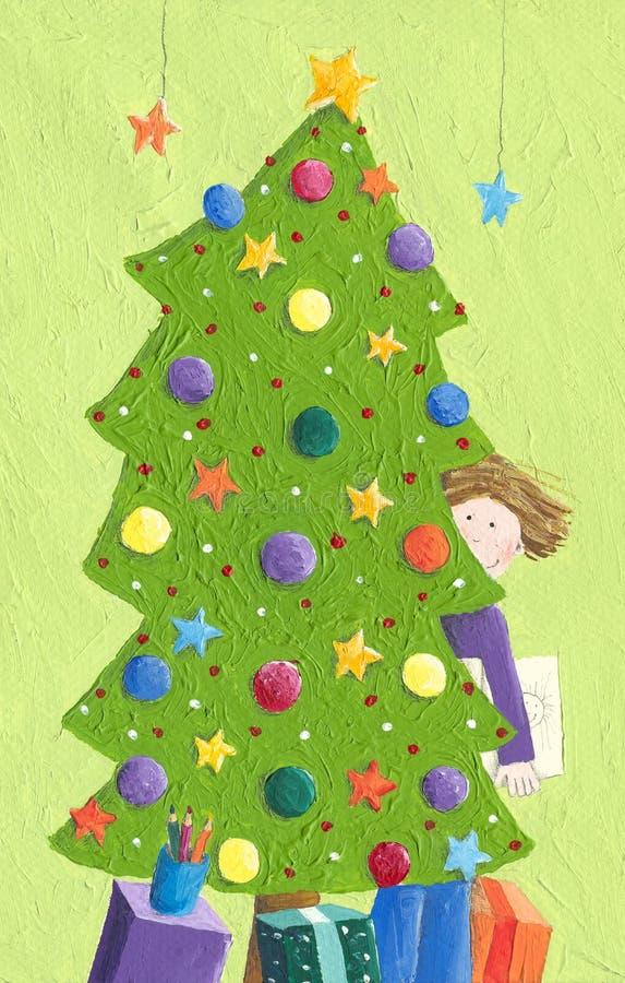Μικρό παιδί και χριστουγεννιάτικο δέντρο διανυσματική απεικόνιση