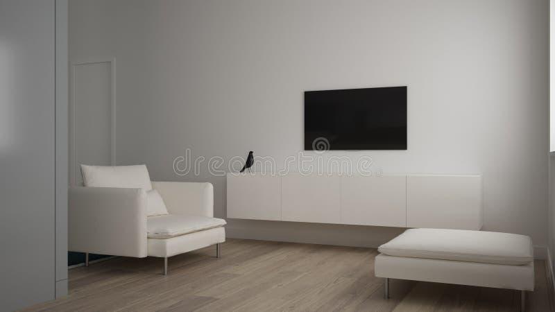 Μινιμαλιστικό μικρό καθιστικό σε ένα διαμέρισμα κρεβατοκάμαρων, καθιστικό με τον καναπέ και μαξιλάρι πουφ, ράφι TV, πάτωμα παρκέ, στοκ φωτογραφία με δικαίωμα ελεύθερης χρήσης