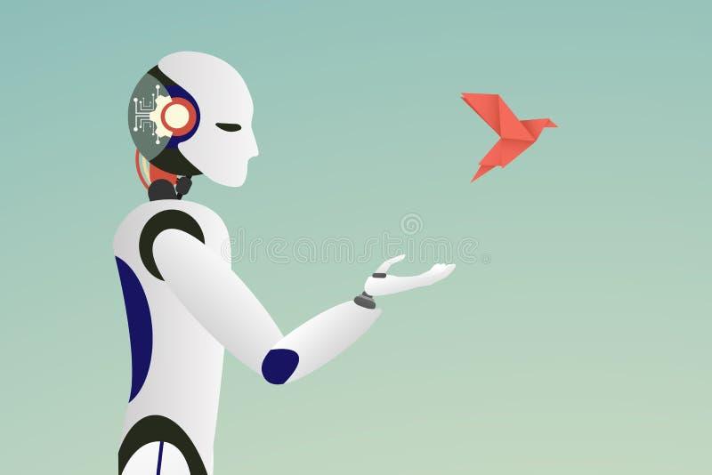 Μινιμαλιστικό σκαλί διάνυσμα του ρομπότ που απελευθερώνει ένα κόκκινο πουλί εγγράφου για την έννοια ελευθερίας διανυσματική απεικόνιση