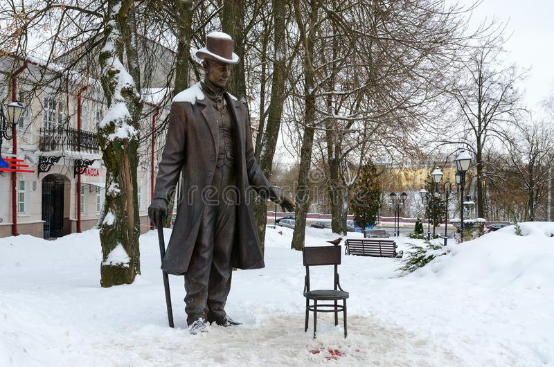 Μνημείο στο Βιτσέμπσκ γιγαντιαίο Fedor Makhnov 1878-1912, πιό ψηλό άτομο στο παγκόσμιο ύψος 285 εκατοστόμετρα, Βιτσέμπσκ, Λευκορω στοκ εικόνες