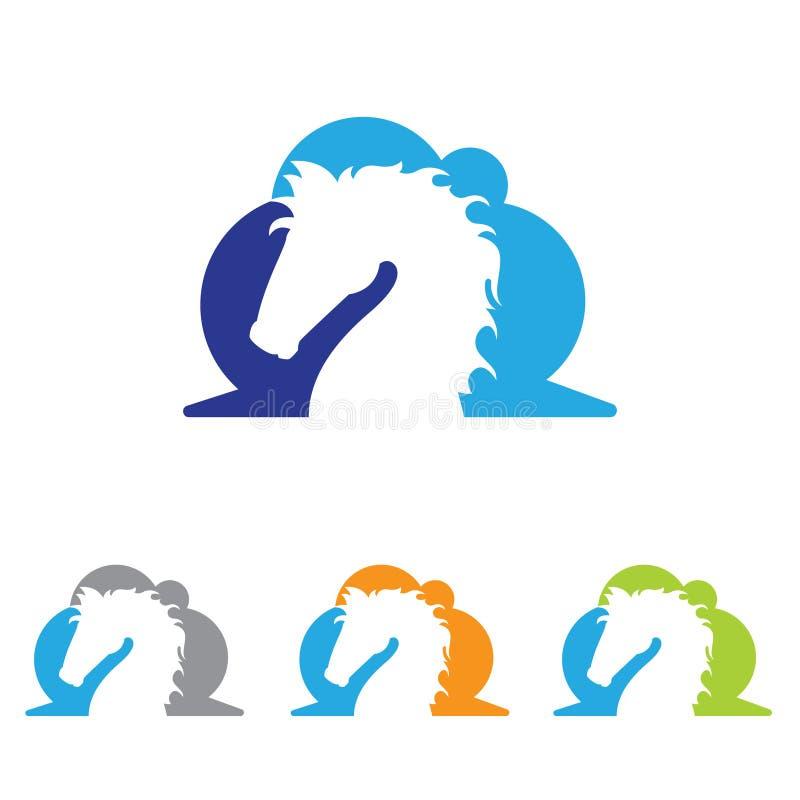 Μοναδική απλή ιδέα συμβόλων λογότυπων αλόγων σύννεφων απεικόνιση αποθεμάτων