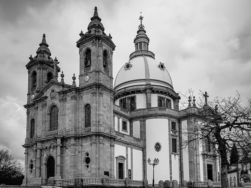 Μονοχρωματική φωτογραφία της εκκλησίας της κυρίας Sameiro μας, στη Braga στοκ φωτογραφία με δικαίωμα ελεύθερης χρήσης