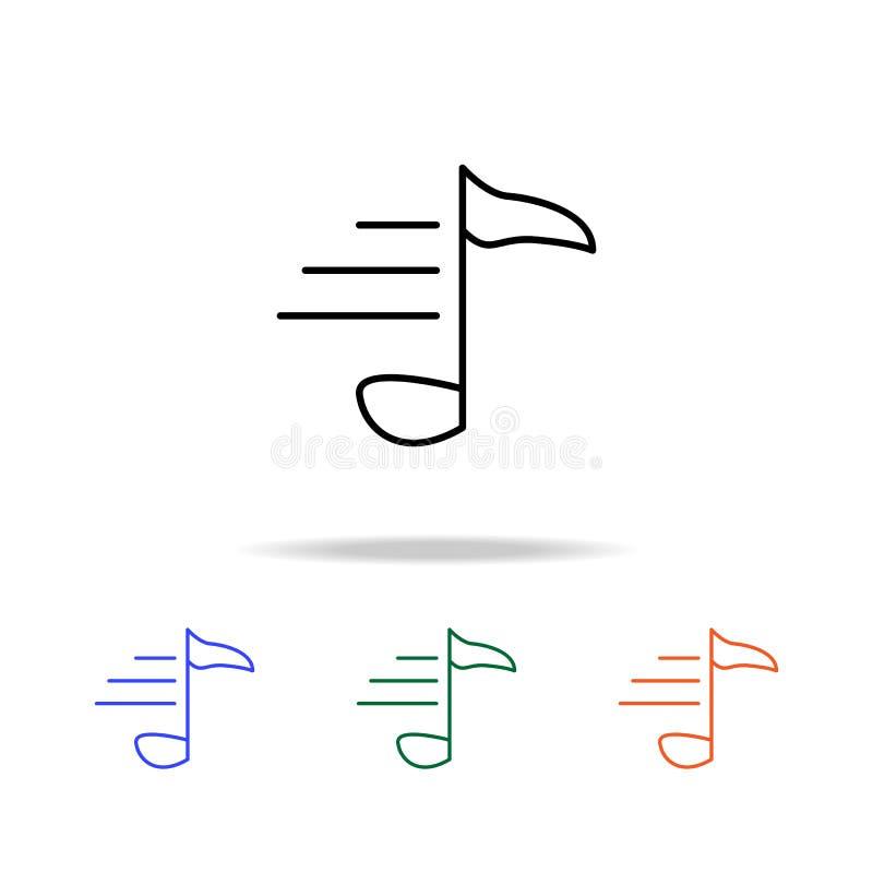 Μουσικό εικονίδιο σημειώσεων Στοιχεία του απλού εικονιδίου Ιστού στο πολυ χρώμα Γραφικό εικονίδιο σχεδίου εξαιρετικής ποιότητας Α ελεύθερη απεικόνιση δικαιώματος