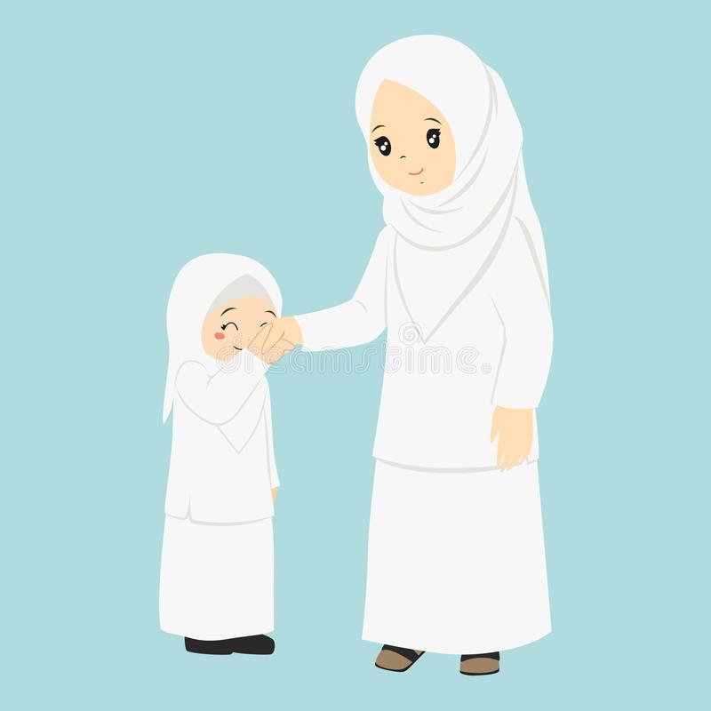 Μουσουλμανικό κορίτσι διάνυσμα χεριών της μητέρας φιλήματός της ελεύθερη απεικόνιση δικαιώματος