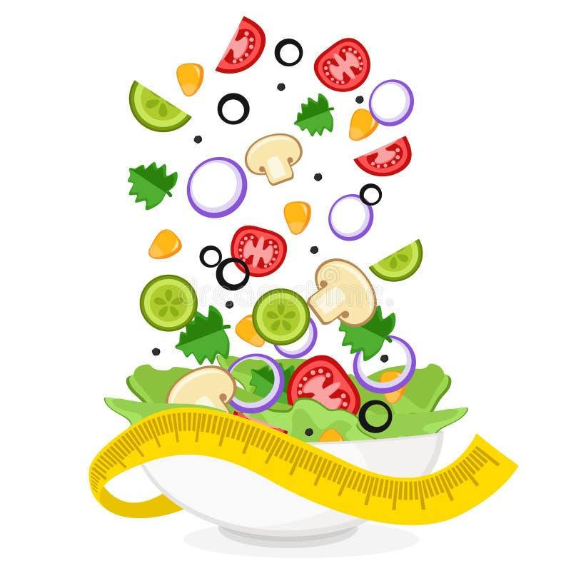 Μύγα φρέσκων λαχανικών σε ένα πιάτο σαλάτας σε ένα λευκό σιτηρέσιο υγιεινό ελεύθερη απεικόνιση δικαιώματος