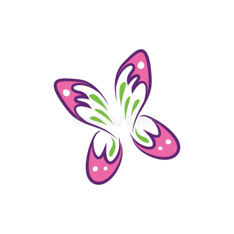 Μύγα πεταλούδων - χαριτωμένο ρόδινο όμορφο σύμβολο φύσης απεικόνιση αποθεμάτων
